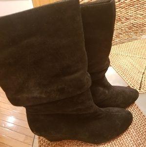 Alex Marie Black Leather Suede Boots